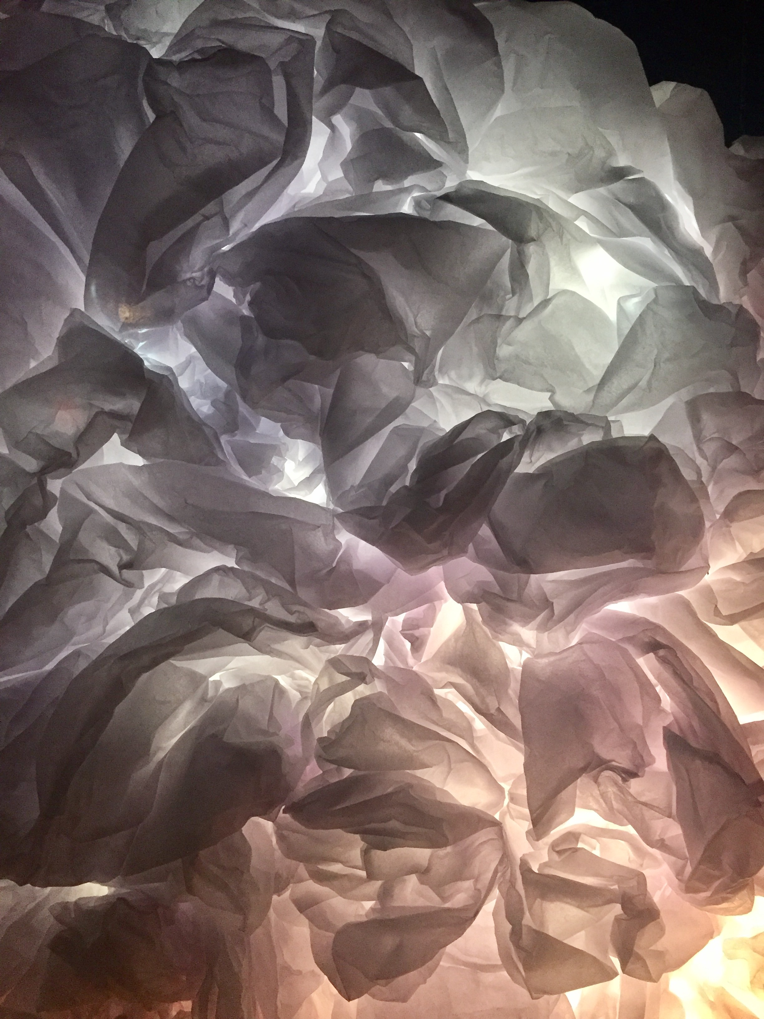 White Sands, detail. Paper and lighting, dimensions variable. 2015.